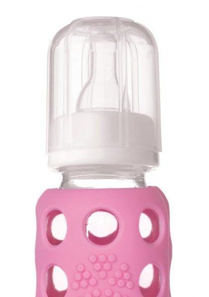 Kojenecká sklenená fľaša Lifefactory ružová 120 ml