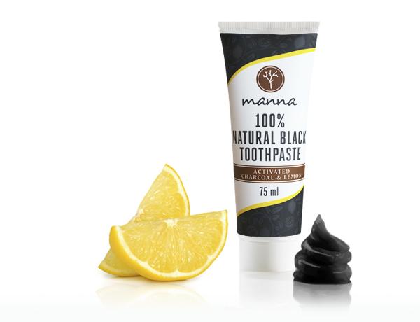 Manna čierna zubná pasta s citrónom bez fluoridu