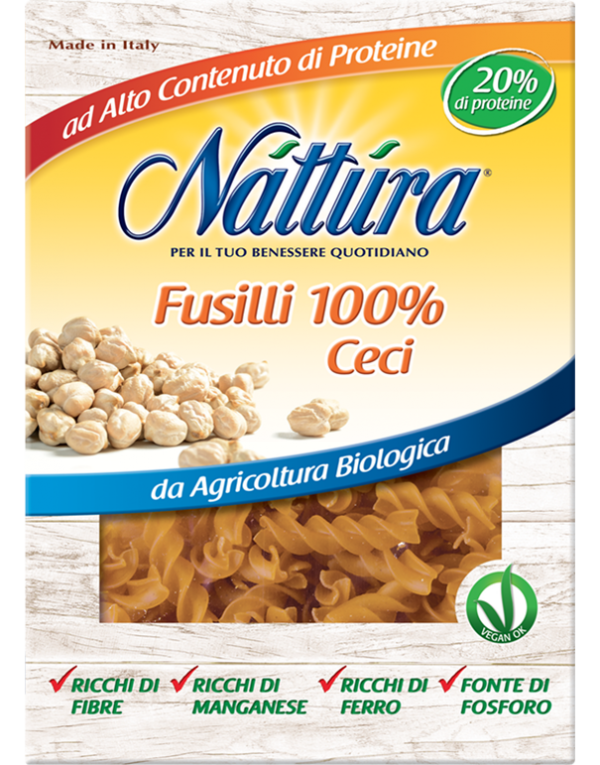 Bio vegan fusilli 100% z cíceru Nattura